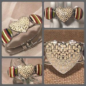 Coach RARE Heart Logo Striped Silver Cuff Bracelet